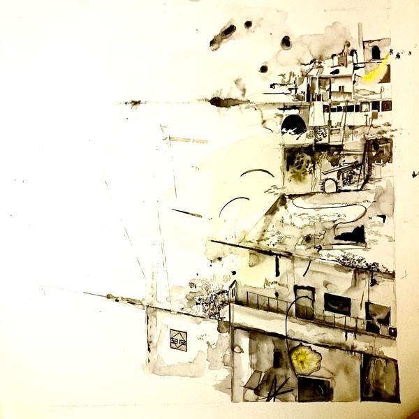 Work in progress for the Aleppo painting in 2017 Emma Louise Pratt