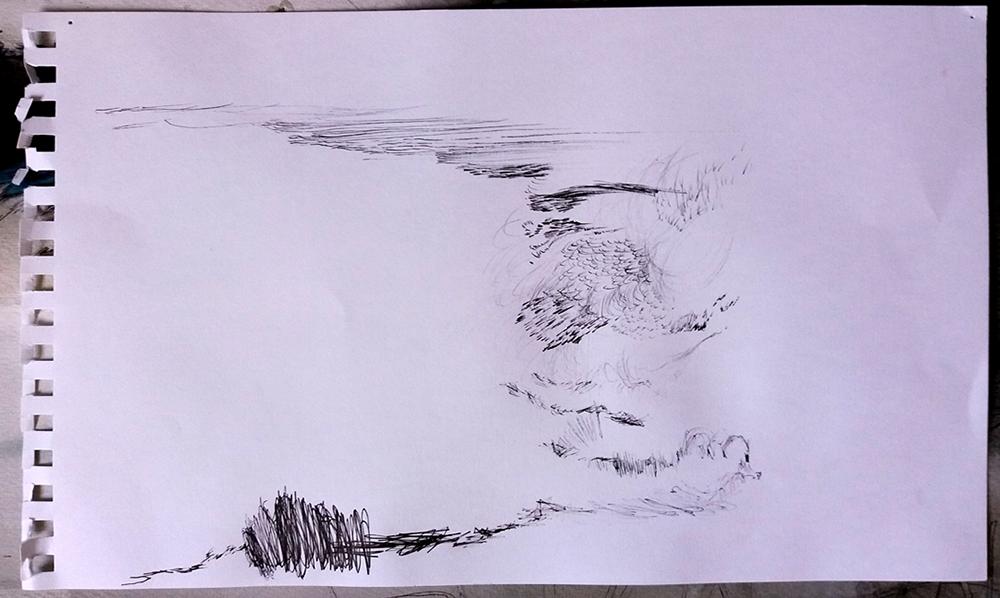 Drawing as a physical response: plane landing Emma Louise Pratt